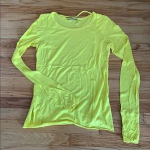 COS long sleeve yellow tee with thumb holes - S